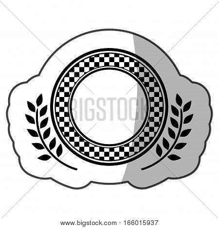 sticker monochrome dish with square pattern and olive branch and half shadow vector illustration