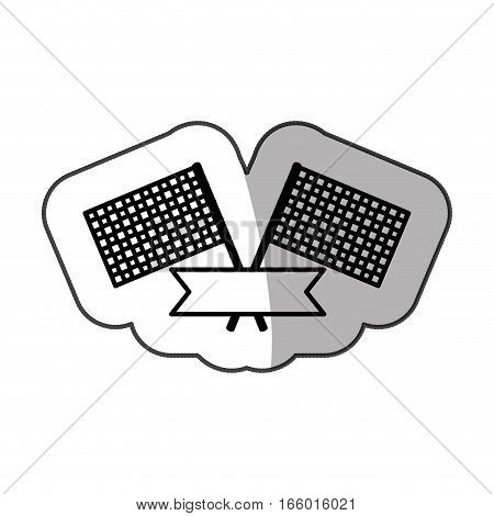 sticker monochrome with racing flags and ribbon with half shadow vector illustration