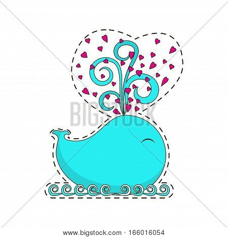 Fashion patch badges with cute whale with hearts are gushing forth. Character for Valentines day congratulation in cartoon 80s-90s pop-art style. Vector illustration eps 10.