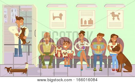 Veterinary clinic interior. Turn to the veterinarian. Doctor treats a dog, people with pets are waiting. Boy and cats, senior and dachshund, boy and snake, girl and mastiff. Vector illustration eps 10