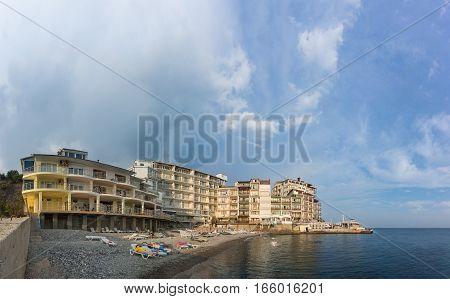 MASSANDRA CRIMEA RUSSIA - SEPTEMBER 14.2016 Beach in Yalta Yacht club