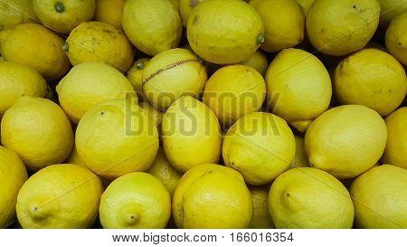 Lemons In Marketplace. lemon background in tray