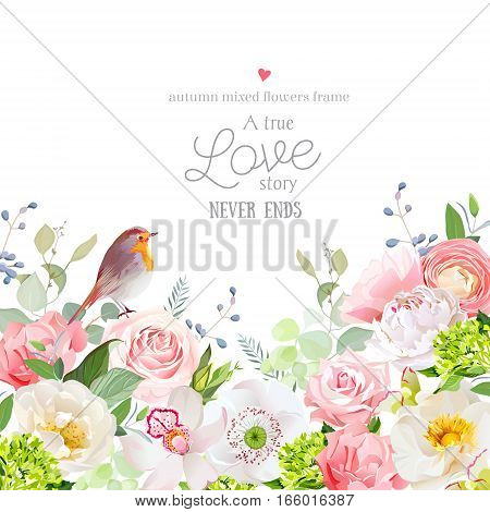 Hydrangea rose peony poppy orchid carnation and robin bird vector design card. Botanical style frame with mixed flowers on white. Elegant floral background. All elements are isolated and editable