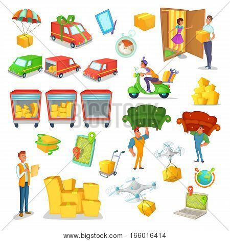 Cartoon delivery and logistics set. Vector Illustration of transportation, logistic technology and character design.
