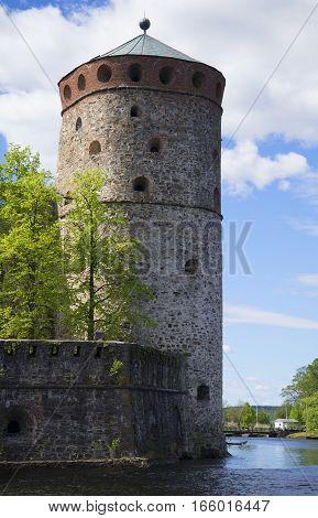 Tower Кijlin the fortress of Olavinlinna closeup. Savonlinna, Finland