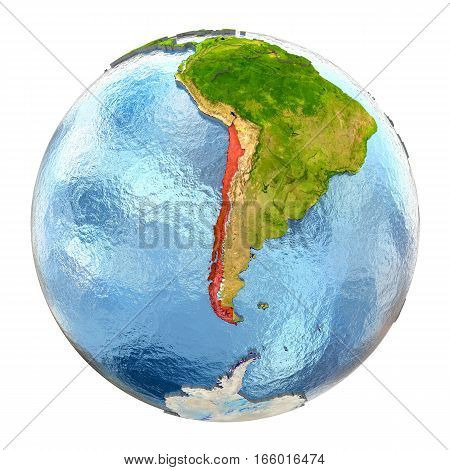 Chile In Red On Full Earth