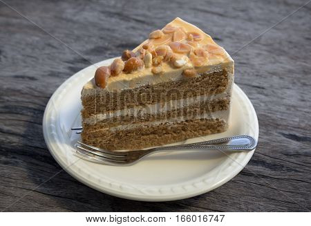 Piece Of Coffee Cake On  White Plate