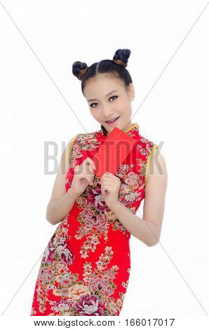 Happy Chinese New Year. Asian Girl With Gesture Of Congratulation And Holding Red Envelope On White