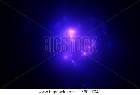 The bright blue star cluster in outer space galaxy. Nebula galaxy in space.