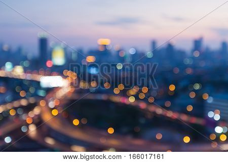 City and highway blurred bokeh lights abstract background