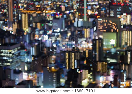 Blurred bokeh lights city office building close up abstract background