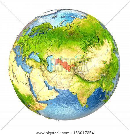 Uzbekistan In Red On Full Earth