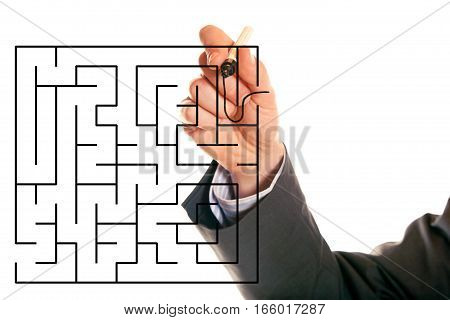 a man in a business suit is finding his way through a maze