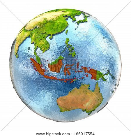 Indonesia In Red On Full Earth