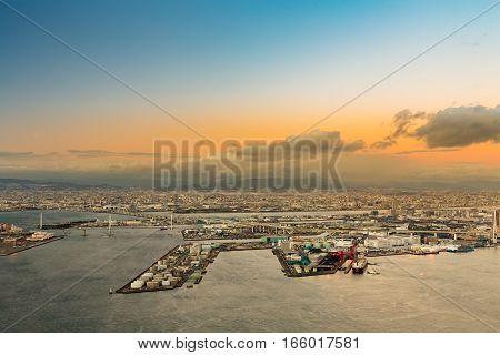 Aerial view of Osaka bay from the Cosmo tower at Osaka Japan