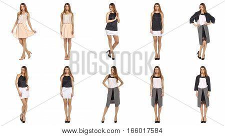 Beautiful stylish model in skirt isolated on white
