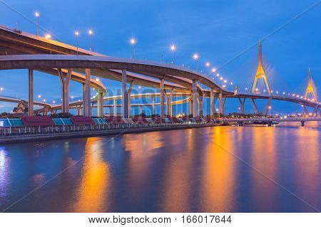 Twin Suspension bridge over Bangkok city river with twilight blue sky backgorund Thailand