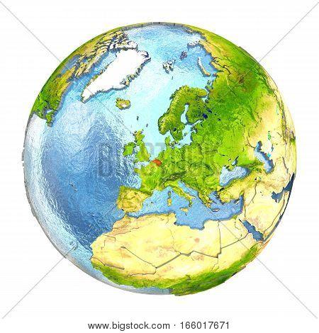 Belgium In Red On Full Earth