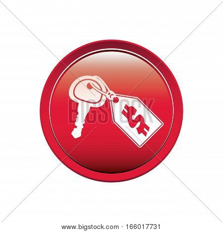 button with Price tag icon dollar and keys vector illustration
