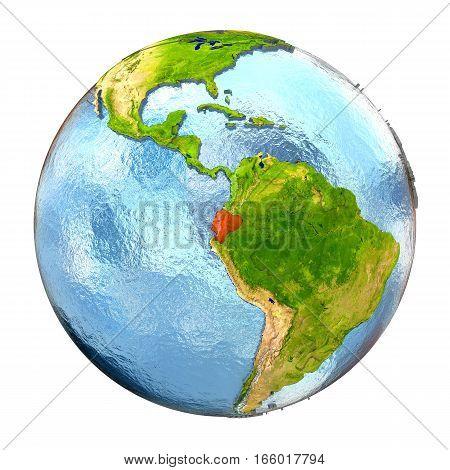 Ecuador In Red On Full Earth