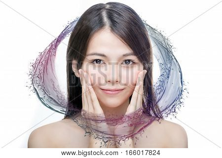 Asian Beauty With Colorful Water Splash