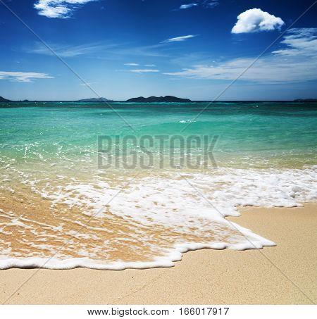 Beautiful tropical beach and blue sky. Amazing seascape.