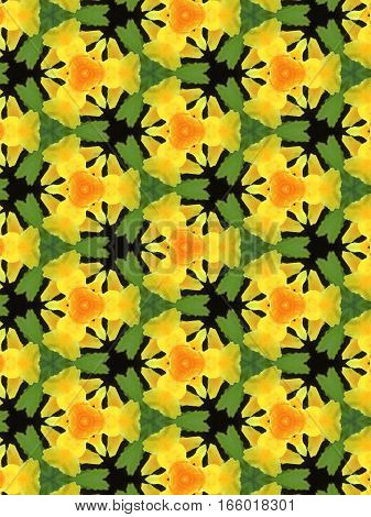 Kaleidoscope pattern texture background made from yellow flower