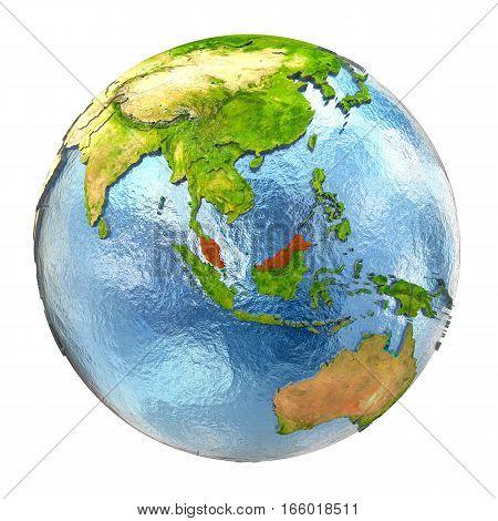 Malaysia In Red On Full Earth