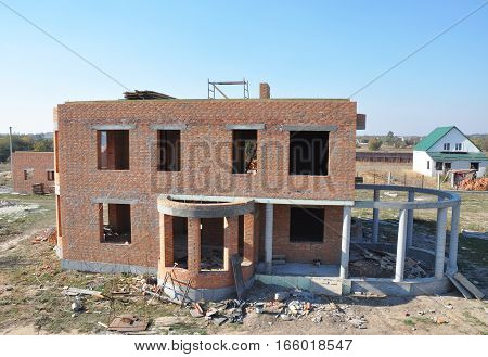 Building Big Brick House with Winter Garden or Conservatory