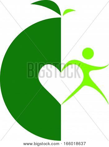 Green Logo love Health with run man