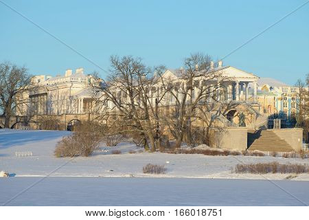View of the Cameron gallery sunny winter day. Catherine Palace in Tsarskoye Selo, Saint Petersburg