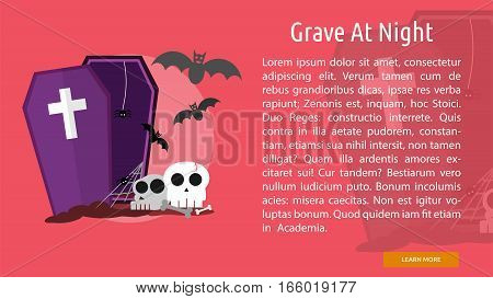 Grave at Night Conceptual Banner Great flat design illustration concepts for halloween, holiday, horror, night and much more.