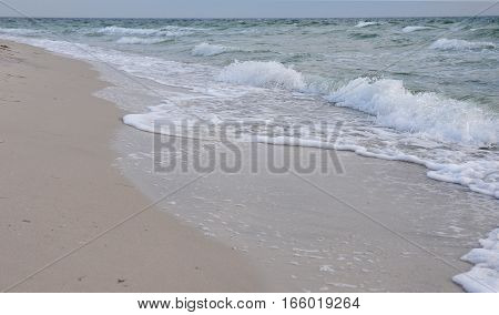 Northern Sea Waves on the Beach. Atlantic Ocean Cold Waves.