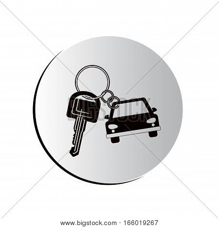 button car shaped keychain icon vector illustration
