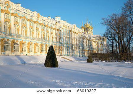 Catherine Palace in the snow November morning in Tsarskoye Selo. St. Petersburg, Russia