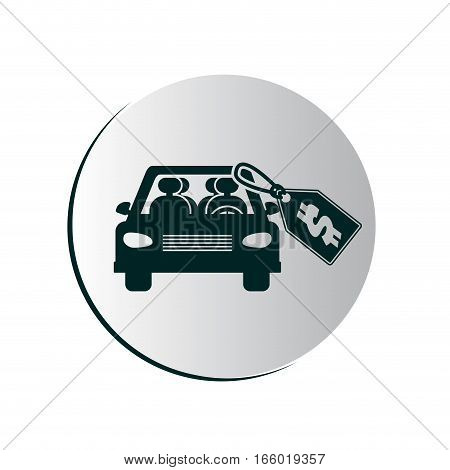 button with car and price tag vector illustration