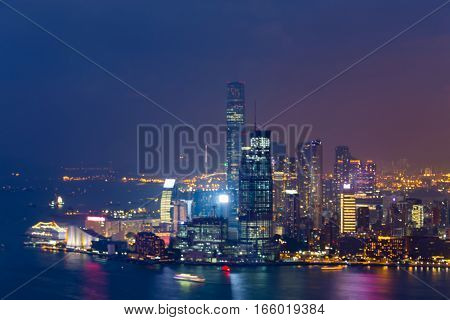 Abstract blurred bokeh Hong Kong city over the bay night view