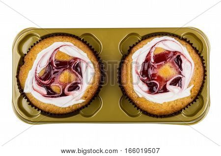 Two Cream Cakes In Plastic Box Isolated On White