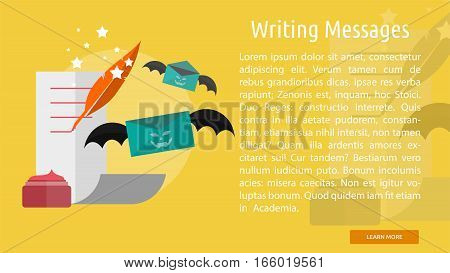 Writing Messages Conceptual Banner Great flat design illustration concepts for halloween, holiday, horror, night and much more.