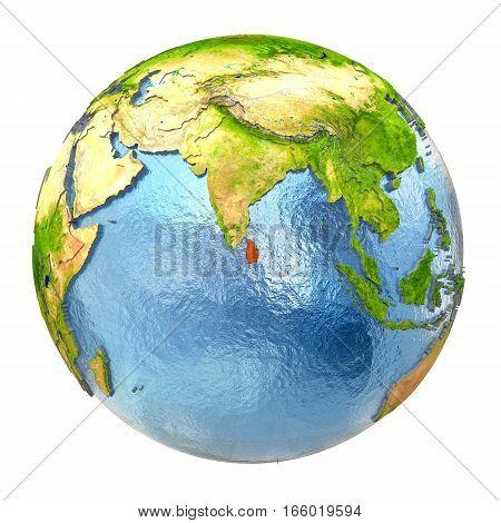 Sri Lanka In Red On Full Earth