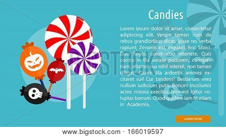 Candies Conceptual Banner Great flat design illustration concepts for halloween, holiday, horror, night and much more.