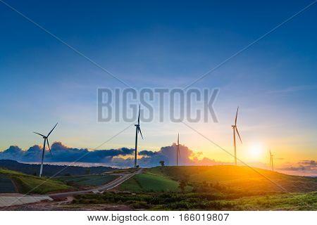 Windmills in sunset time sky at Khao Kho Phetchabun Thailand