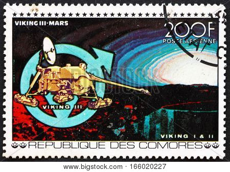 COMOROS - CIRCA 1977: a stamp printed in Comoros shows Viking III Mars Space Exploration circa 1977