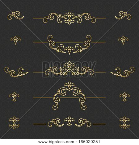Vector set of decorative elements .  Golden floral borders. Ornate decor  for save the date, birthday, greeting card, wedding invitation, leaflet, poster, certificate, thank you message.
