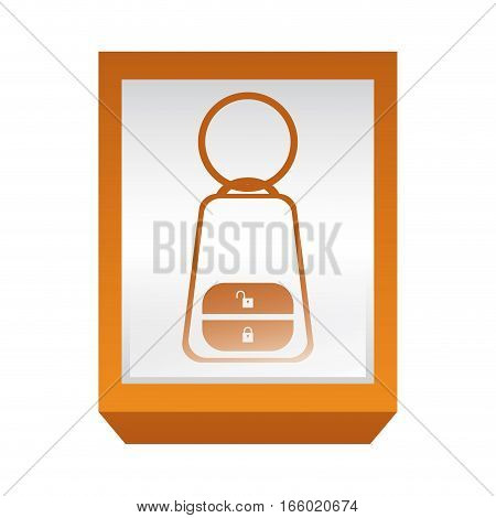 rectangle button key alarm system car vector illustration