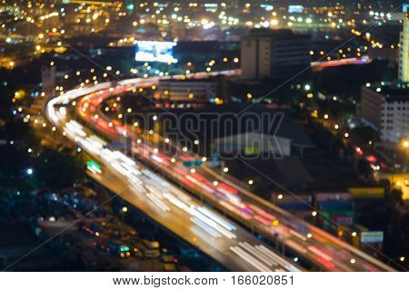 Night blurred lights city curved light long exposure