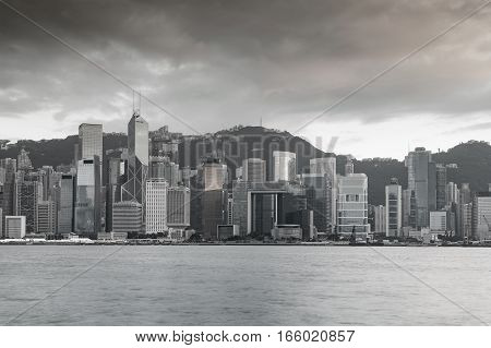 Hong Kong city over Victoria bay seacoast Black and White tone