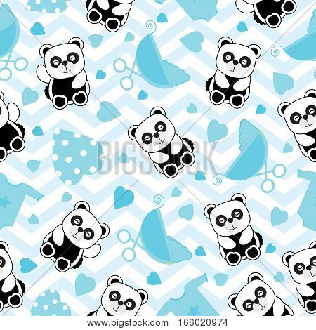 Baby shower seamless background with baby panda and baby clothes on chevron background suitable for baby shower's scrap paper, wallpaper and wrapping paper