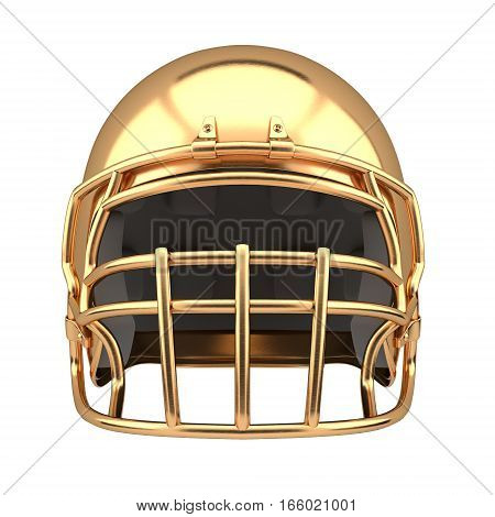 Golden American football helmet Illustration. Front view. Sport equipment. Symbol of Cup or Trophy. 3D render Illustration Isolated on white background.
