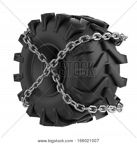 Big Tractor wheel. Tire chains wrapped. Symbol of strong power and endurance. Sporting and Transport label. Perspective view. 3D render Illustration Isolated on white background.
